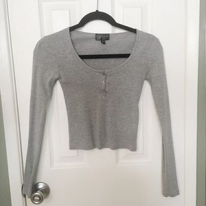 TopShop Heather Grey Long Sleeve Crop Top Size 2